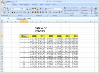 TABLA DE VENTAS