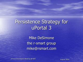 Persistence Strategy for uPortal 3