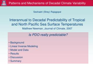 Patterns and Mechanisms of Decadal Climate Variability