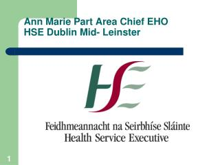 Ann Marie Part Area Chief EHO HSE Dublin Mid- Leinster