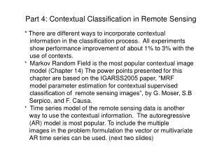 Part 4: Contextual Classification in Remote Sensing