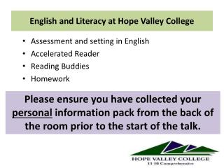 English  and Literacy at Hope Valley College