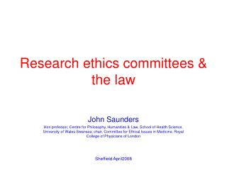 Research ethics committees & the law