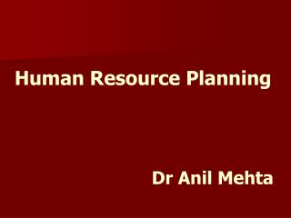 Human Resource Planning Dr Anil Mehta