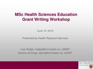 MSc Health Sciences Education  Grant Writing Workshop