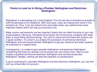 Points to Look for In Hiring a Plumber Nottingham and Electr