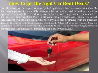 How to get the right Car Rent Deals
