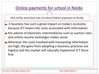 In brief about online payment for school in Noida