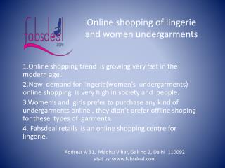 An online shop for Lingerie nd women undergarmnts at fabsdea