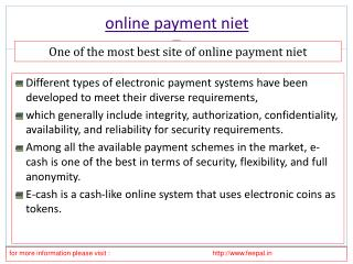 Exhaustive overview of the online payment niet