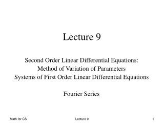 Second Order Linear Differential equations
