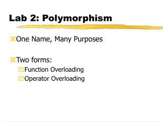 Lab 2: Polymorphism
