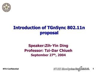 Introduction of TGnSync 802.11n proposal