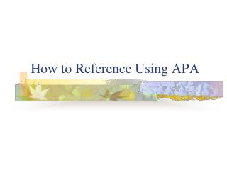 How to Reference Using APA