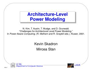 Architecture-Level Power Modeling