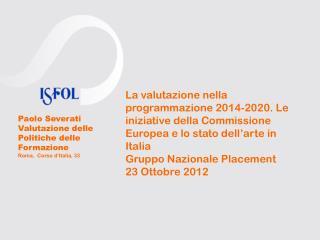 Paolo Severati Valutazione delle Politiche delle Formazione Roma,  Corso d'Italia, 33