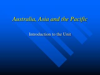 Australia, Asia and the Pacific