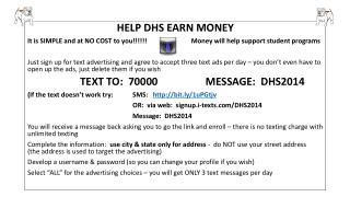 HELP DHS EARN MONEY