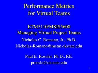 Performance Metrics for Virtual Teams   ETM5110
