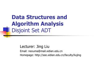 Data Structures and Algorithm Analysis Disjoint Set ADT