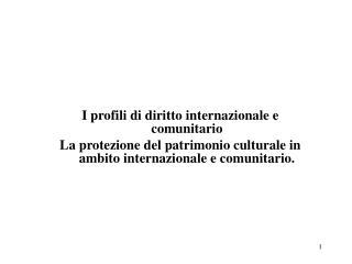 I profili di diritto internazionale e comunitario