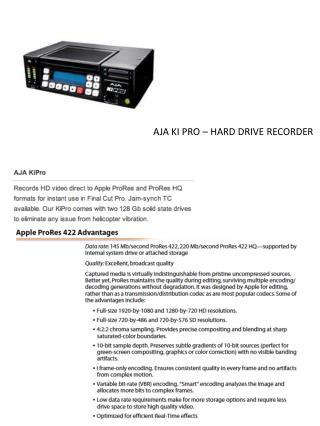AJA KI PRO – HARD DRIVE RECORDER