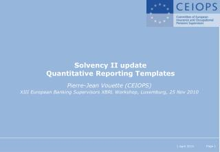 Solvency II update Quantitative Reporting Templates