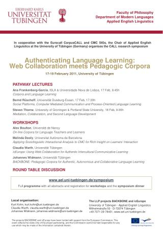 Authenticating Language Learning: Web Collaboration meets Pedagogic Corpora