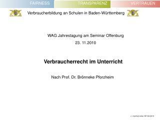 WAG Jahrestagung am Seminar Offenburg  23. 11.2010