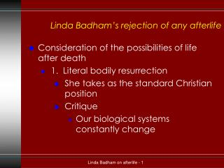 Linda Badham's rejection of any afterlife