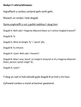 Nodyn i'r athro / athrawes : Argraffwch  y  cardiau canlynol gefn-wrth-gefn .