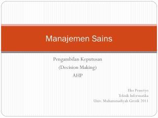 Manajemen Sains