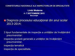 CONSFĂTUIRILE NAŢIONALE ALE INSPECTORILOR DE SPECIALITATE