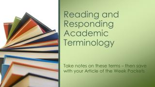 Reading and Responding Academic Terminology