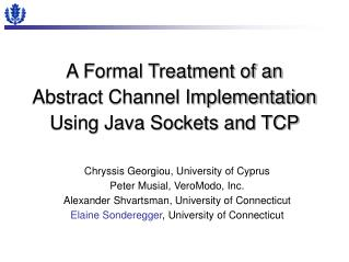 A Formal Treatment of an Abstract Channel Implementation Using Java Sockets and TCP