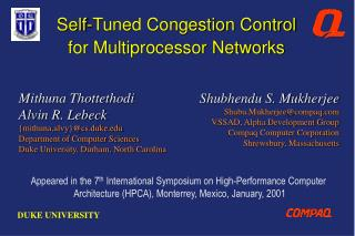 Self-Tuned Congestion Control  for Multiprocessor Networks