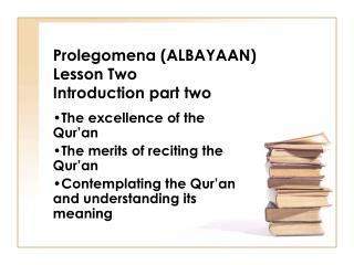 Prolegomena (ALBAYAAN) Lesson Two Introduction part two
