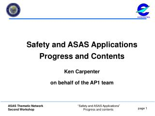 Safety and ASAS Applications Progress and Contents Ken Carpenter on behalf of the AP1 team