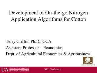 Development of On-the-go Nitrogen Application Algorithms for Cotton