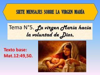 Tema N°5.  La virgen María  hacia la voluntad de Dios ,