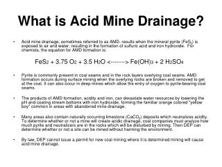 What is Acid Mine Drainage?
