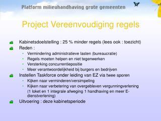 Project Vereenvoudiging regels