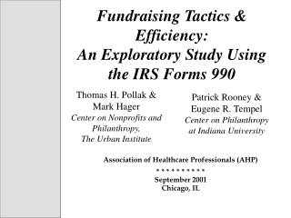 Fundraising Tactics & Efficiency:  An Exploratory Study Using the IRS Forms 990