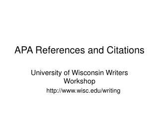 APA References and Citations