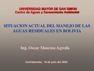 SITUACION ACTUAL DEL MANEJO DE LAS AGUAS RESIDUALES EN BOLIVIA