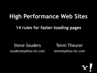 High Performance Web Sites  14 rules for faster-loading pages