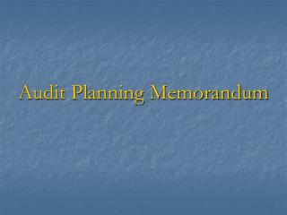 Audit Planning Memorandum