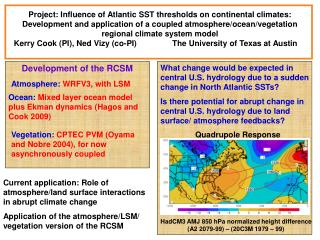 Current application: Role of atmosphere/land surface interactions in abrupt climate change