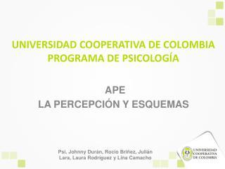 UNIVERSIDAD COOPERATIVA DE COLOMBIA PROGRAMA DE PSICOLOGÍA