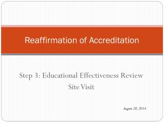 Reaffirmation of Accreditation